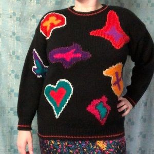 Vintage Amoeba and Heart Sweater